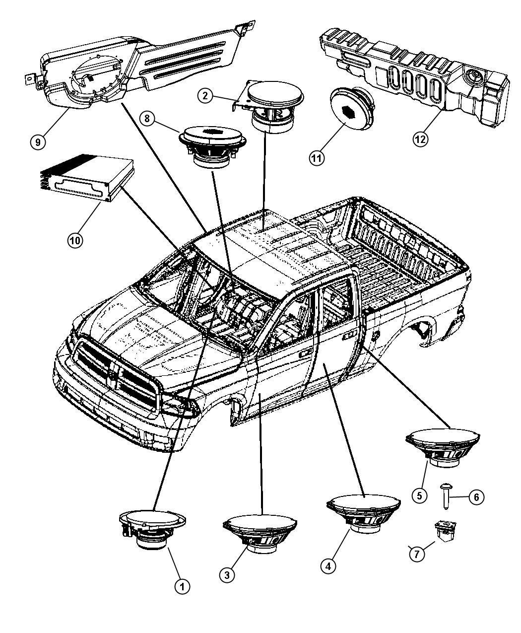 2011 Dodge Ram 3500 Clip. Speaker. B pillar, speaker to