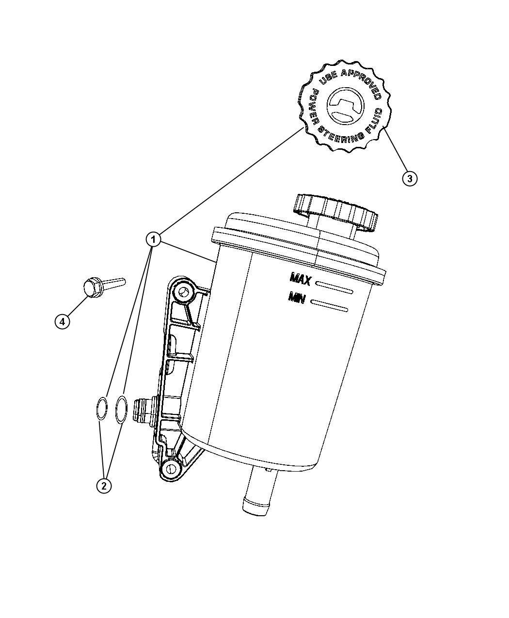 Chrysler Aspen Seal kit. Reservoir. Steering, power, screw