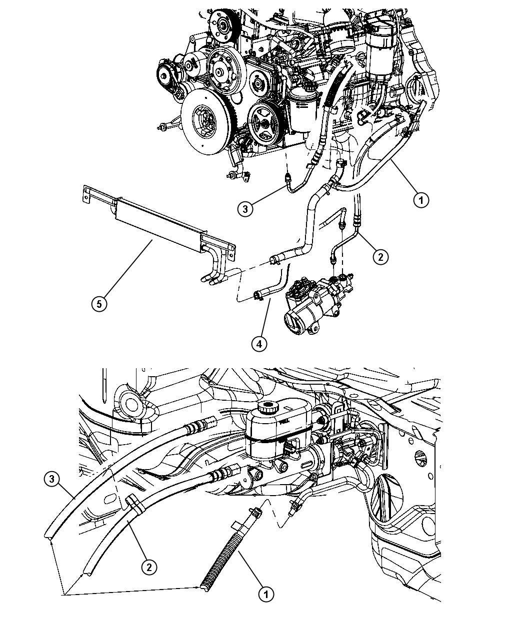 2011 Dodge Ram 3500 Hose. Power steering pressure. Pump to