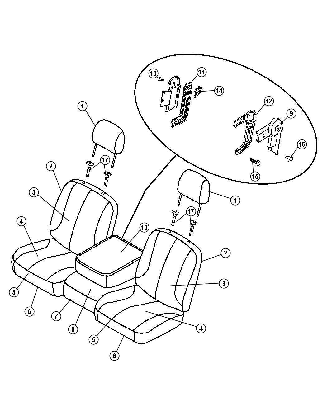 Dodge Ram 2500 Cover, shield. Armrest, seat. Left. Trim