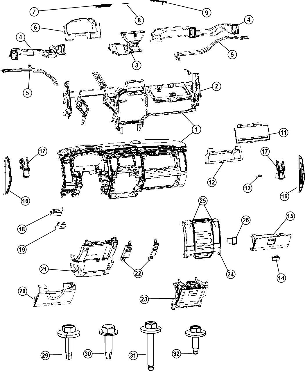 2011 Dodge Ram 5500 Door. Glove box. Upper. Trim: [all