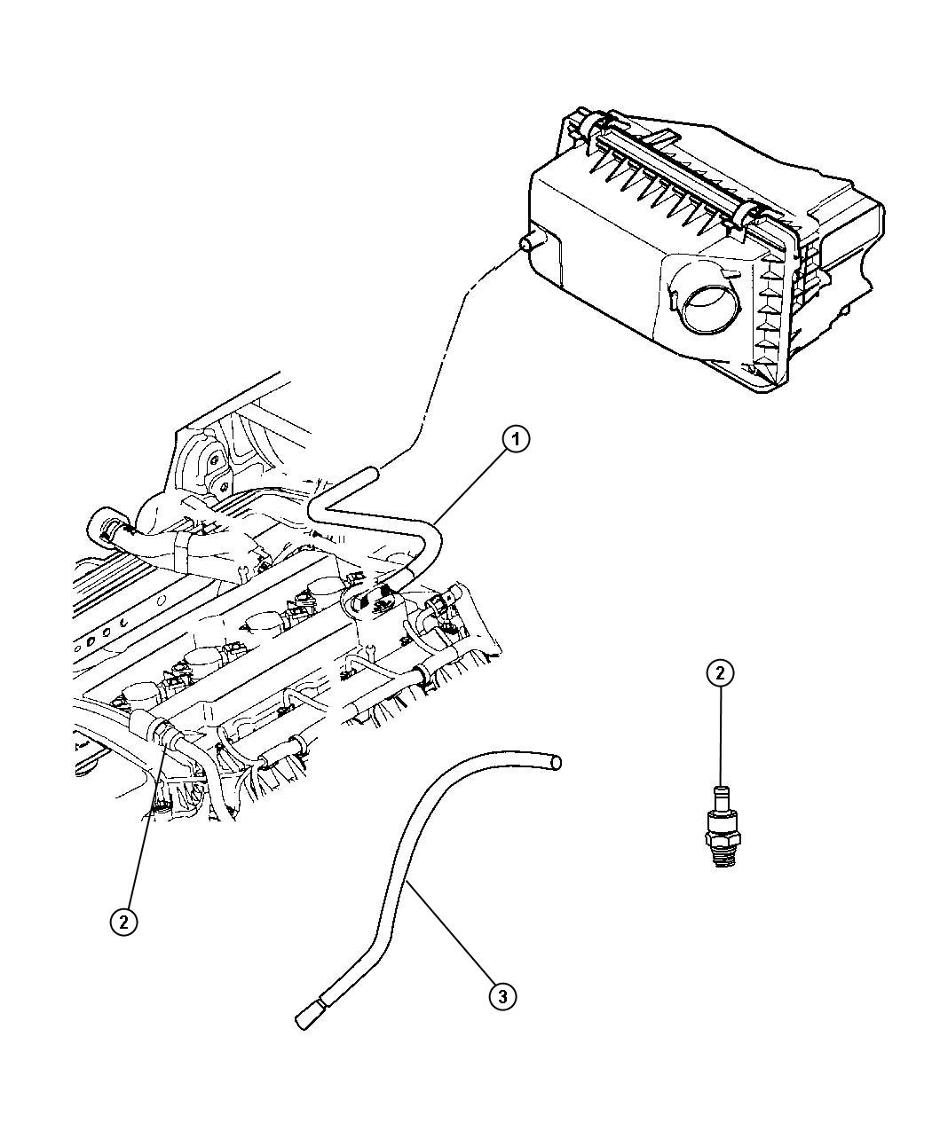 2010 Jeep Patriot Hose. Make up air. Ventilation