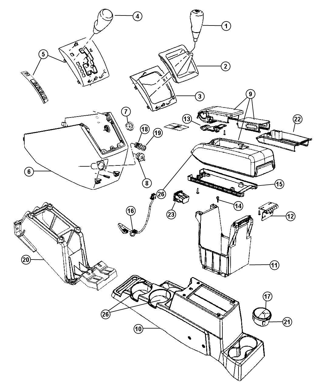 2009 Dodge Caliber Bezel. Console shifter. [cxp], [da][cxp