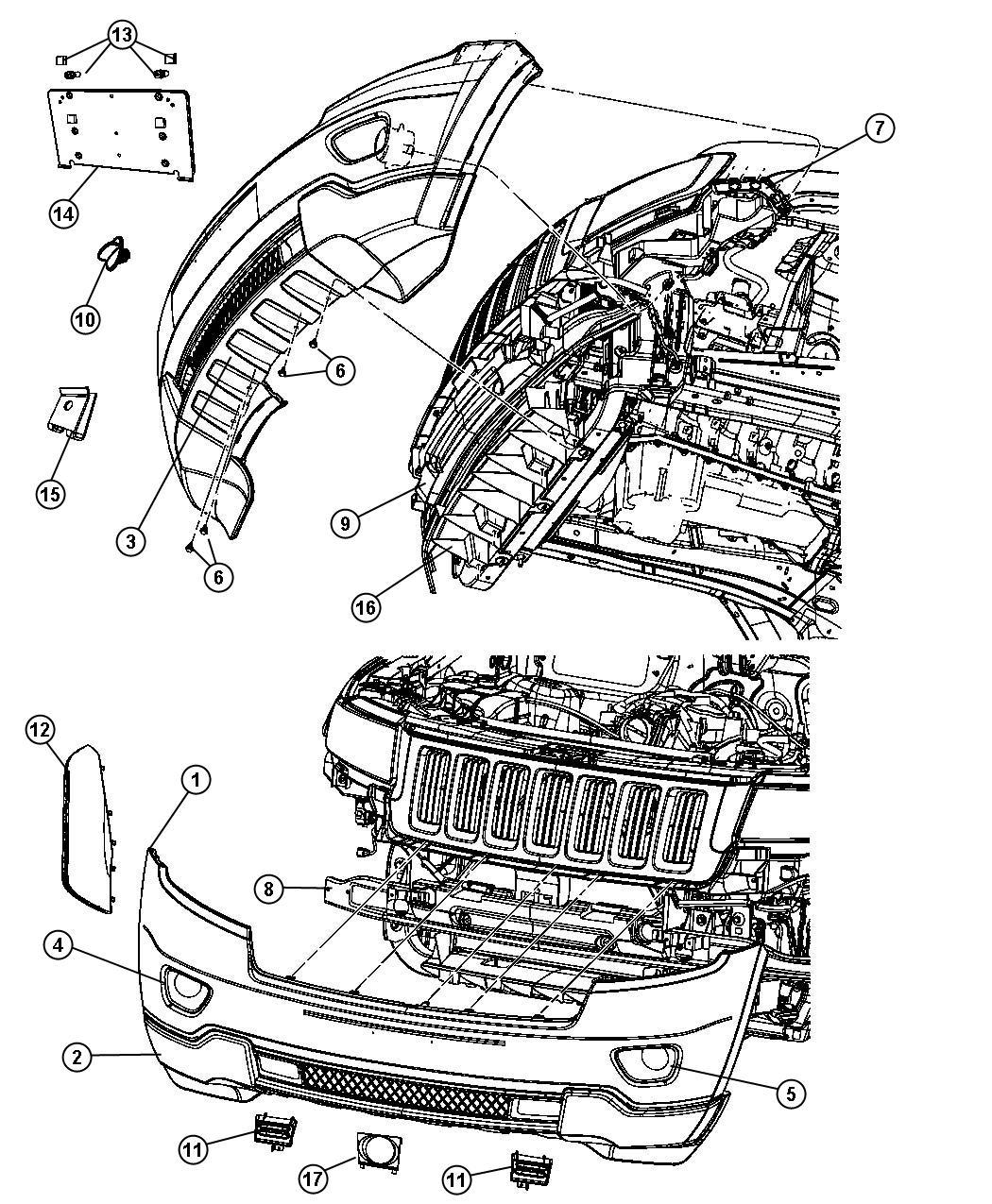 2011 Jeep Grand Cherokee Applique. Fascia. Grilleheadlamp