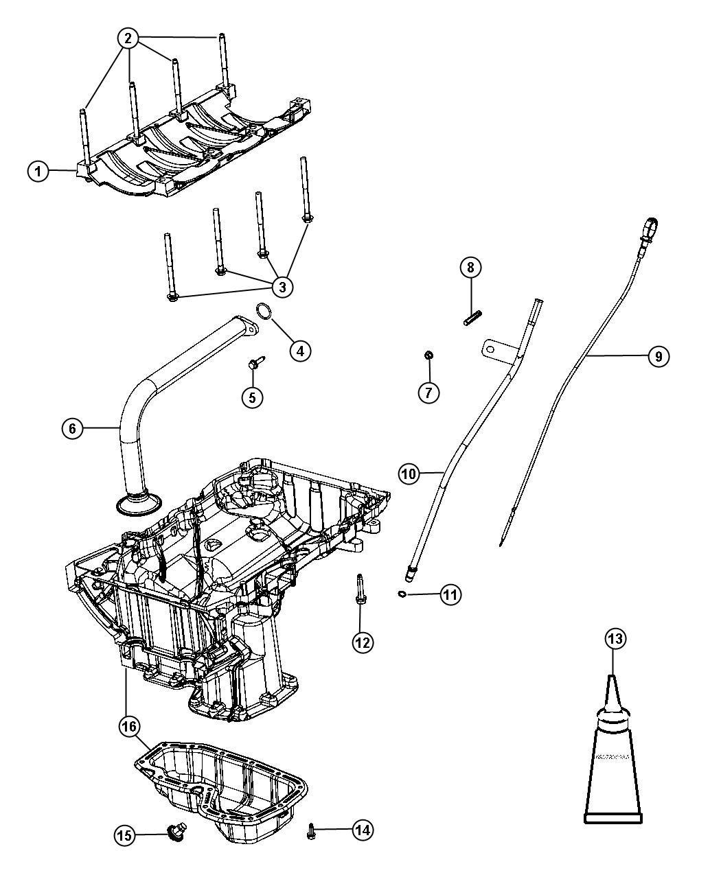 2011 Jeep Grand Cherokee Pan. Engine oil. Lower. Level
