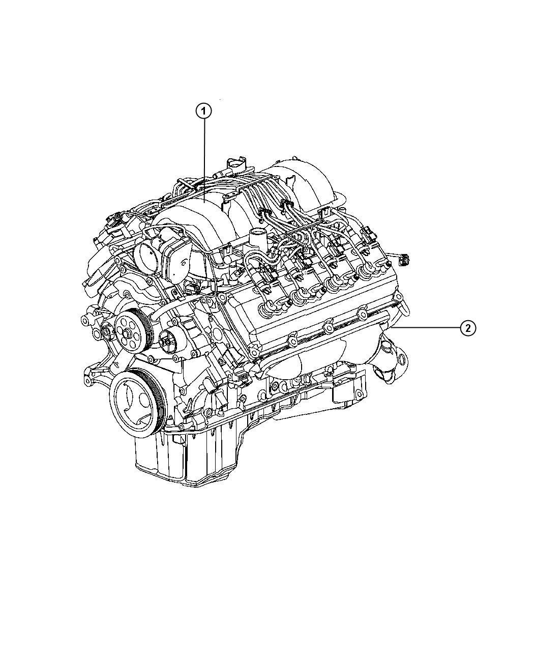 Ram 2500 Engine. Long block. Remanufactured. Manifold