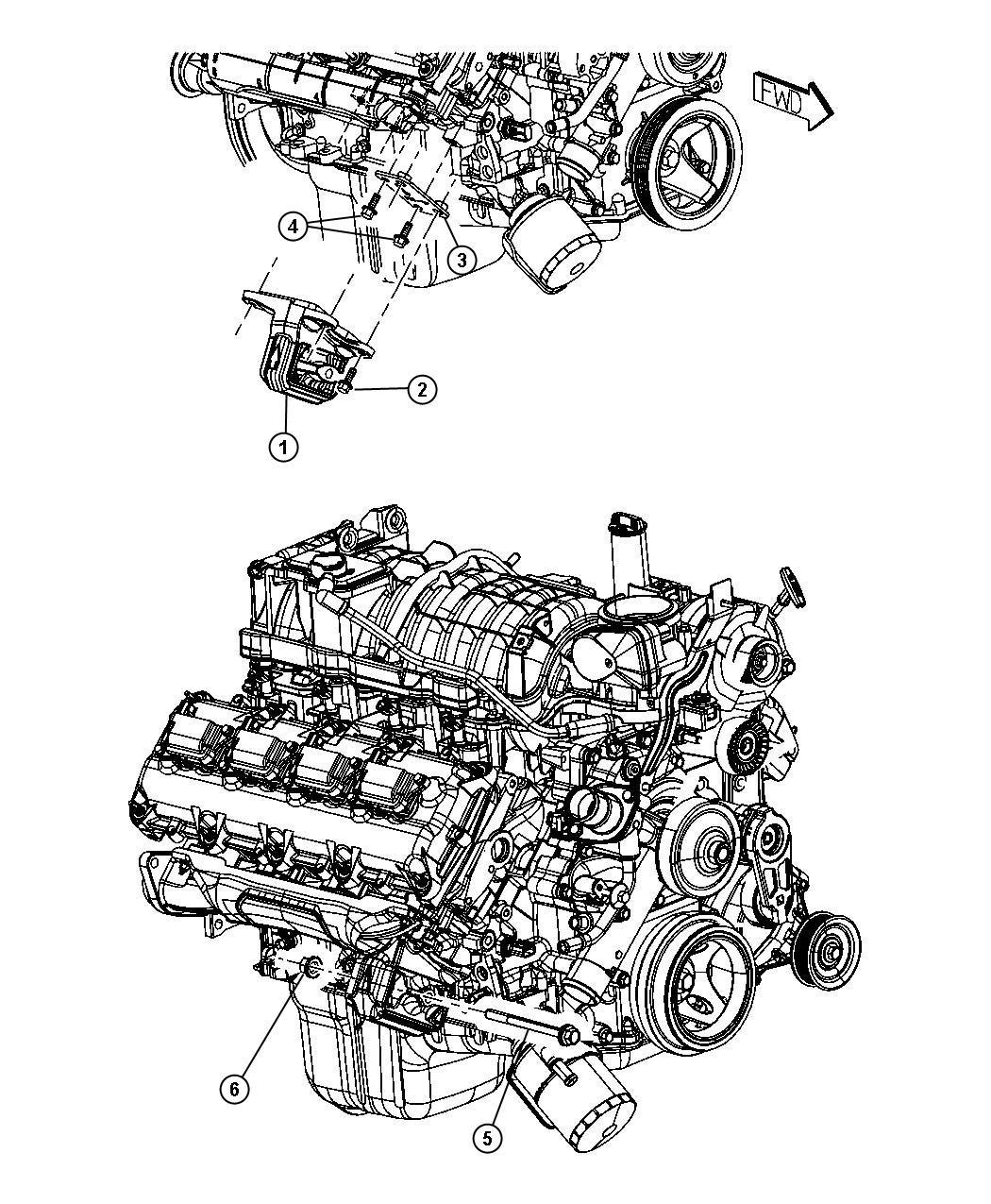 Ram 2500 Insulator. Engine mount. Right side. Mounting