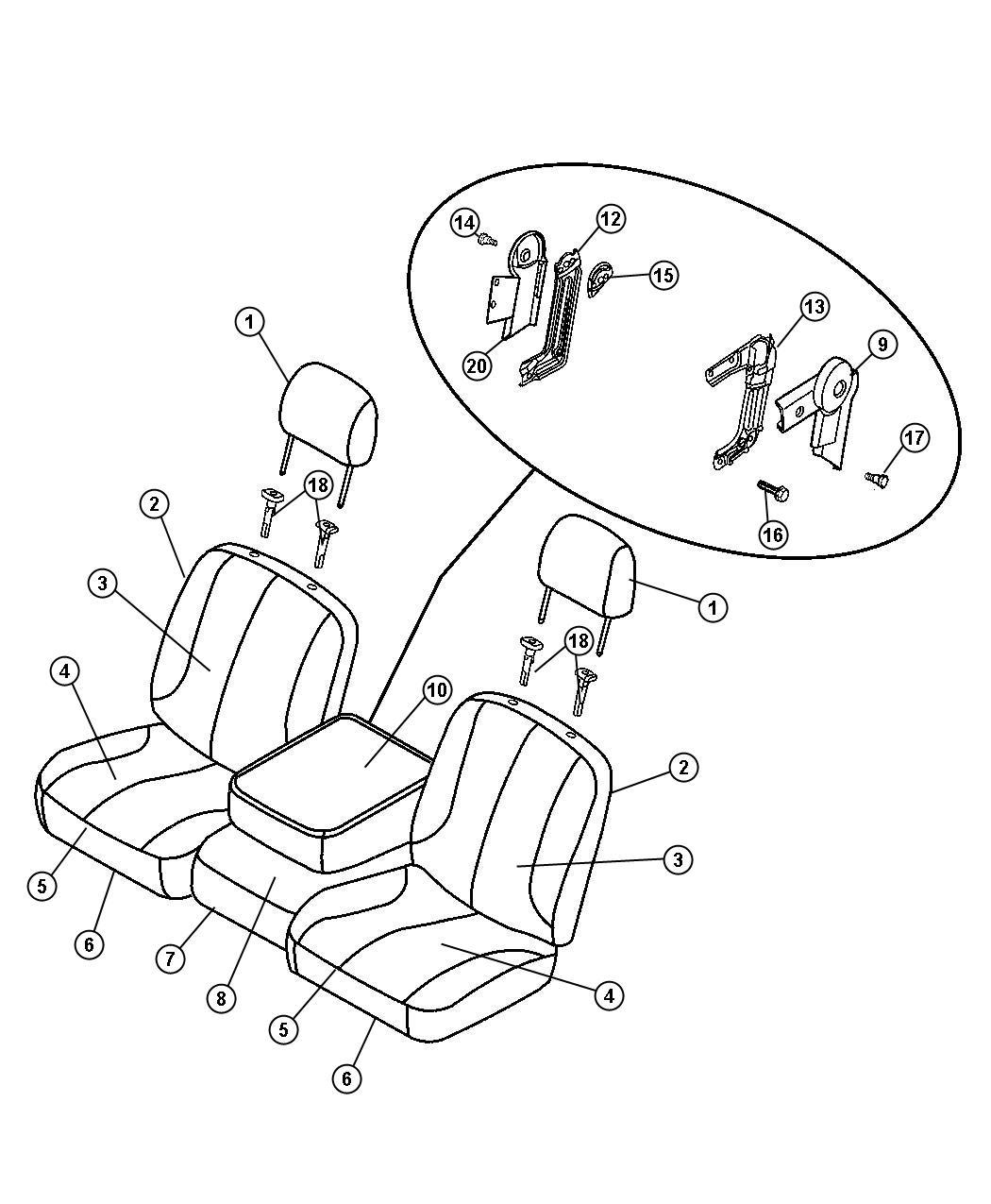 Ram 1500 Armrest. Front seat. Trim: [cloth 40/20/40 bench