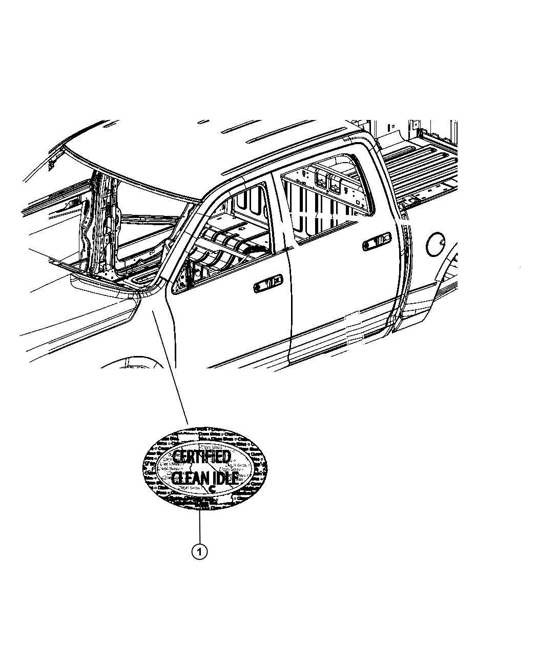 2009 Dodge Ram 5500 Decal, label. Clean idle emissions