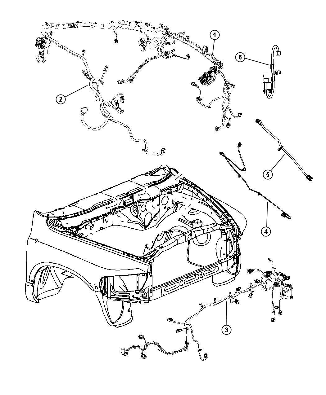2011 Dodge Ram 1500 Wiring. Dash. Right. Headlamp, mopar