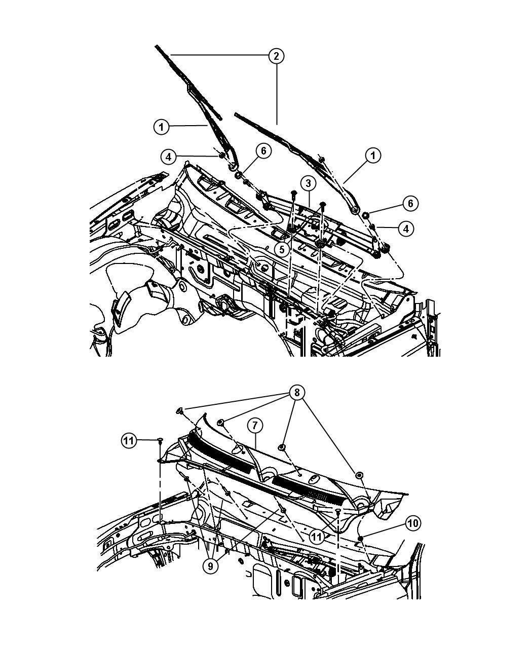 2008 Dodge Dakota Motor and linkage. Windshield wiper