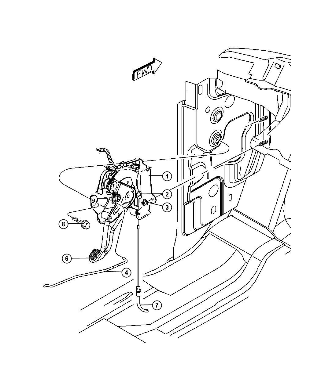 Chrysler 200 Cable Front Parking Brake With