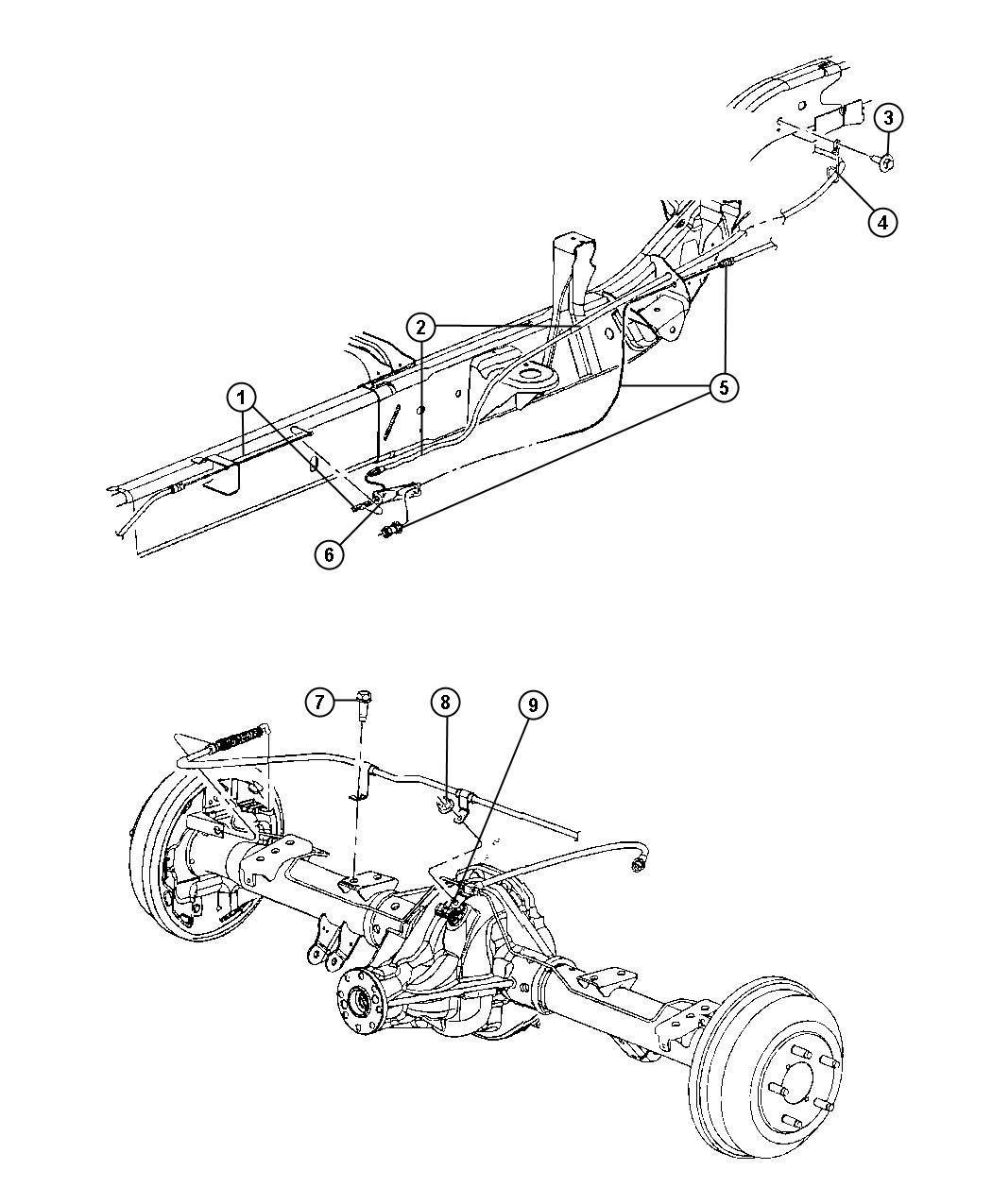 Dodge Dakota Tensioner. Parking brake cable. Rear, cables