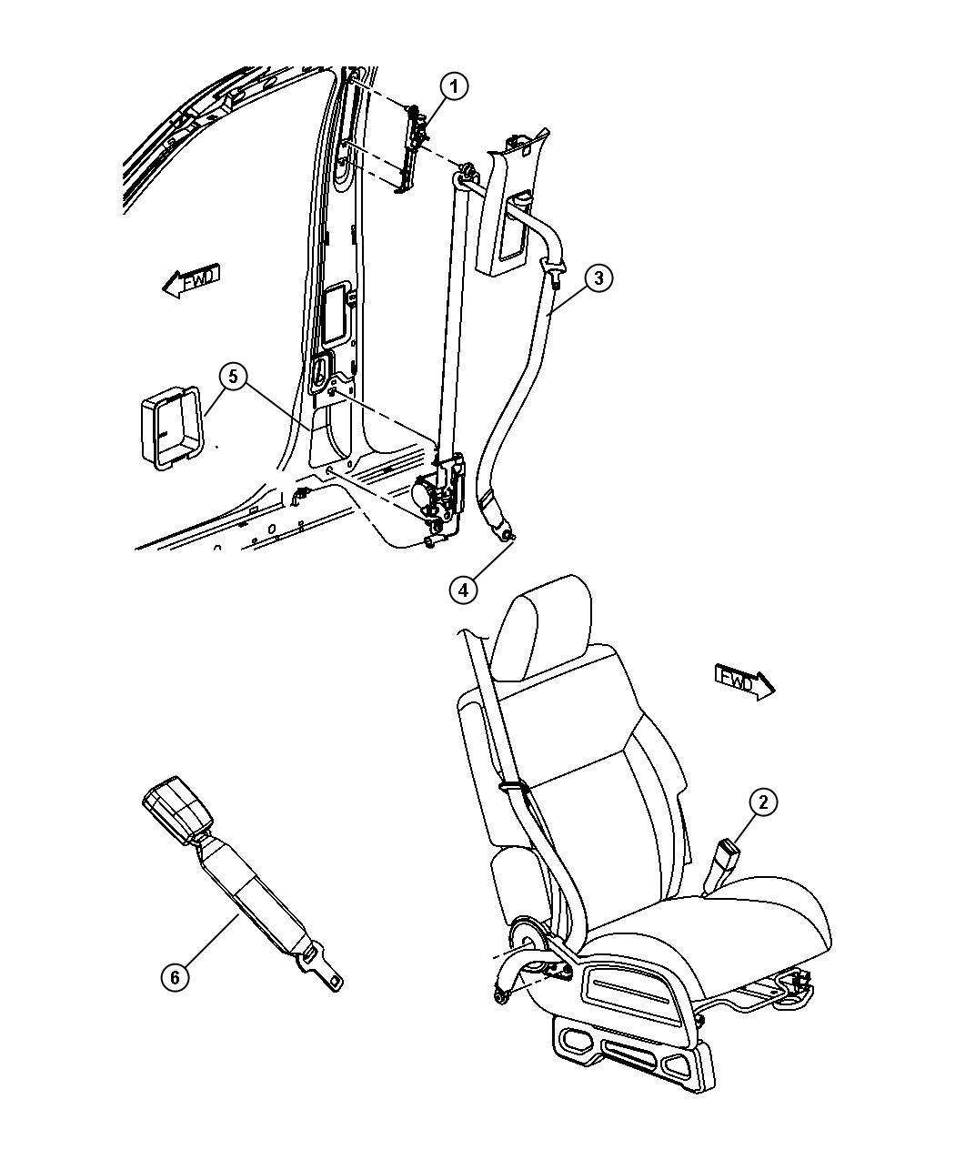 Dodge Nitro Bolt Screw Seat Belt Shouldered Pan