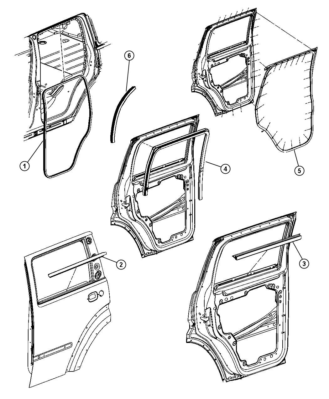 Dodge NITRO Weatherstrip. Rear door belt outer. Right