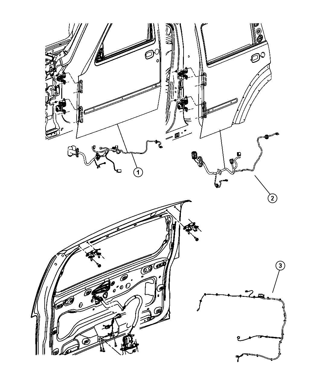 2011 Jeep Liberty Wiring. Rear door. [[6 speakers, 4