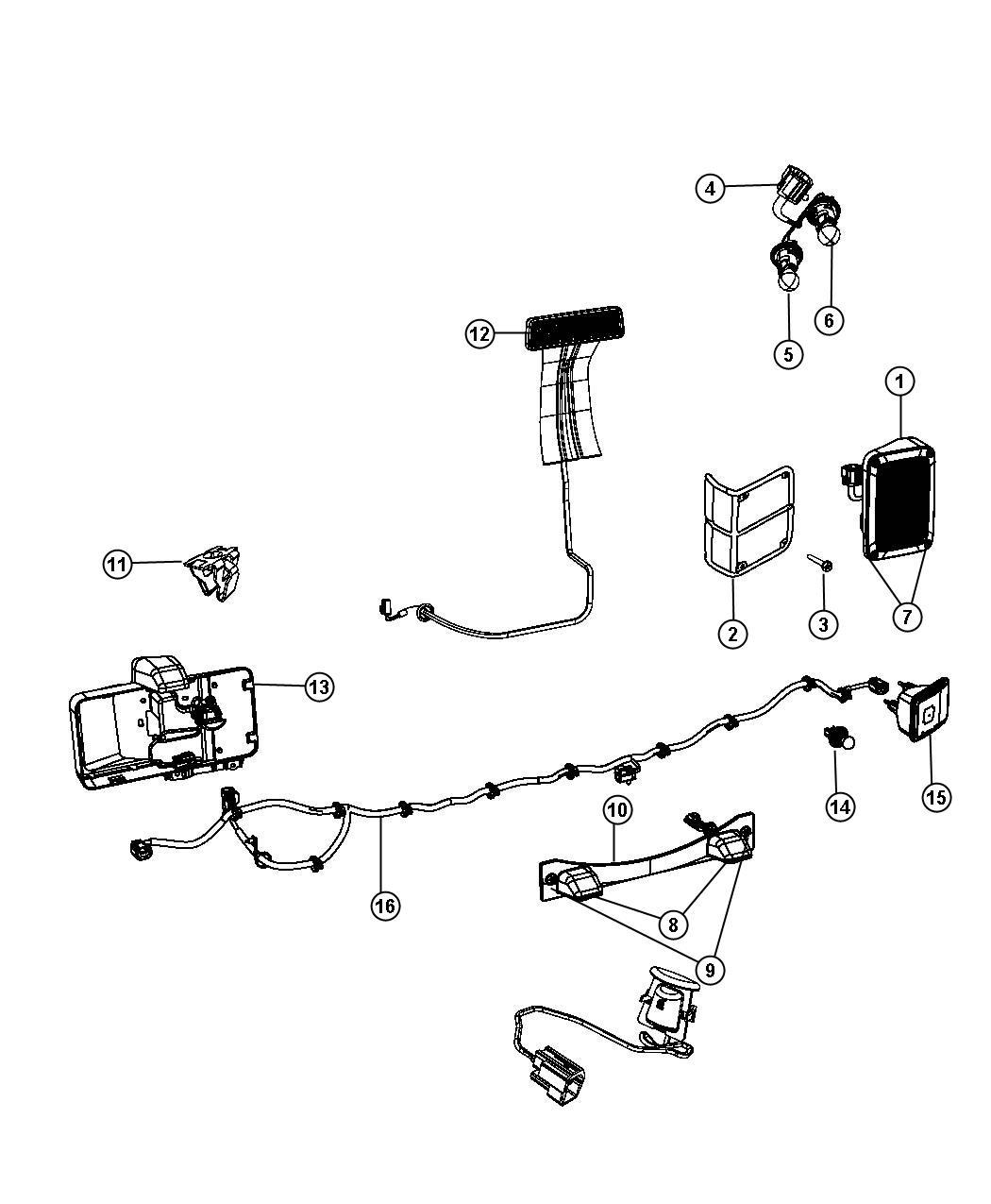 Jeep Wrangler Wiring. Rear bumper. Export. Black, module