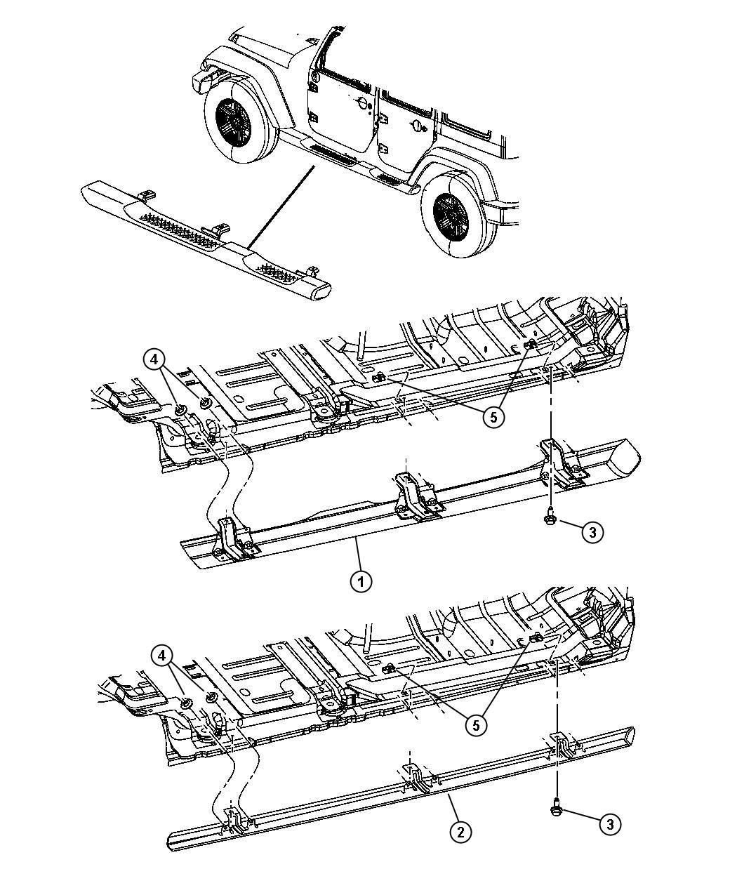 2011 Jeep Wrangler Step pad. Side step. Left. [tubular