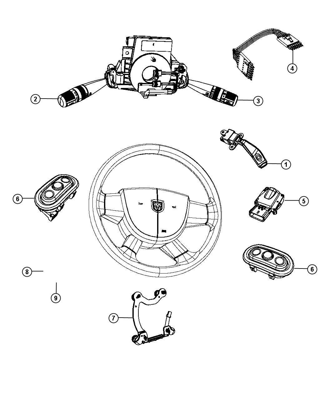 2011 Chrysler Sebring Wiring. Steering wheel. Trim: [no