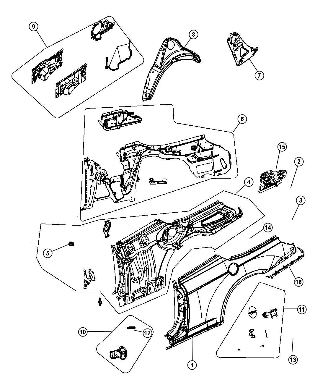 Chrysler 200 Panel Left Quarter Body
