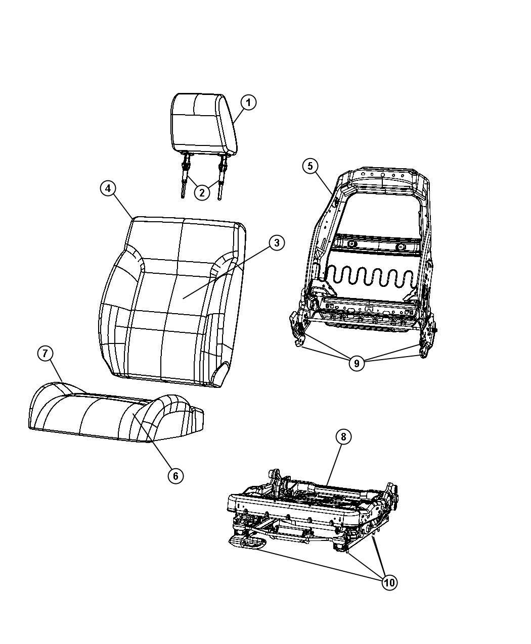 Jeep Liberty Headrest. Front. [orange seat insert]. Trim