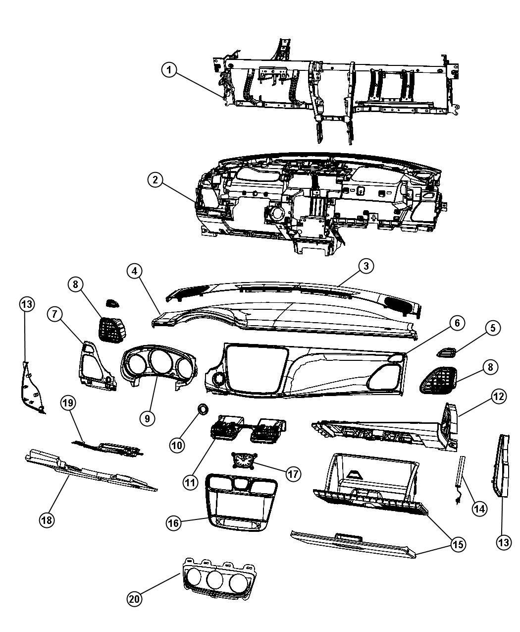 2013 Dodge Avenger Bezel. Instrument cluster. [x9]. Trim