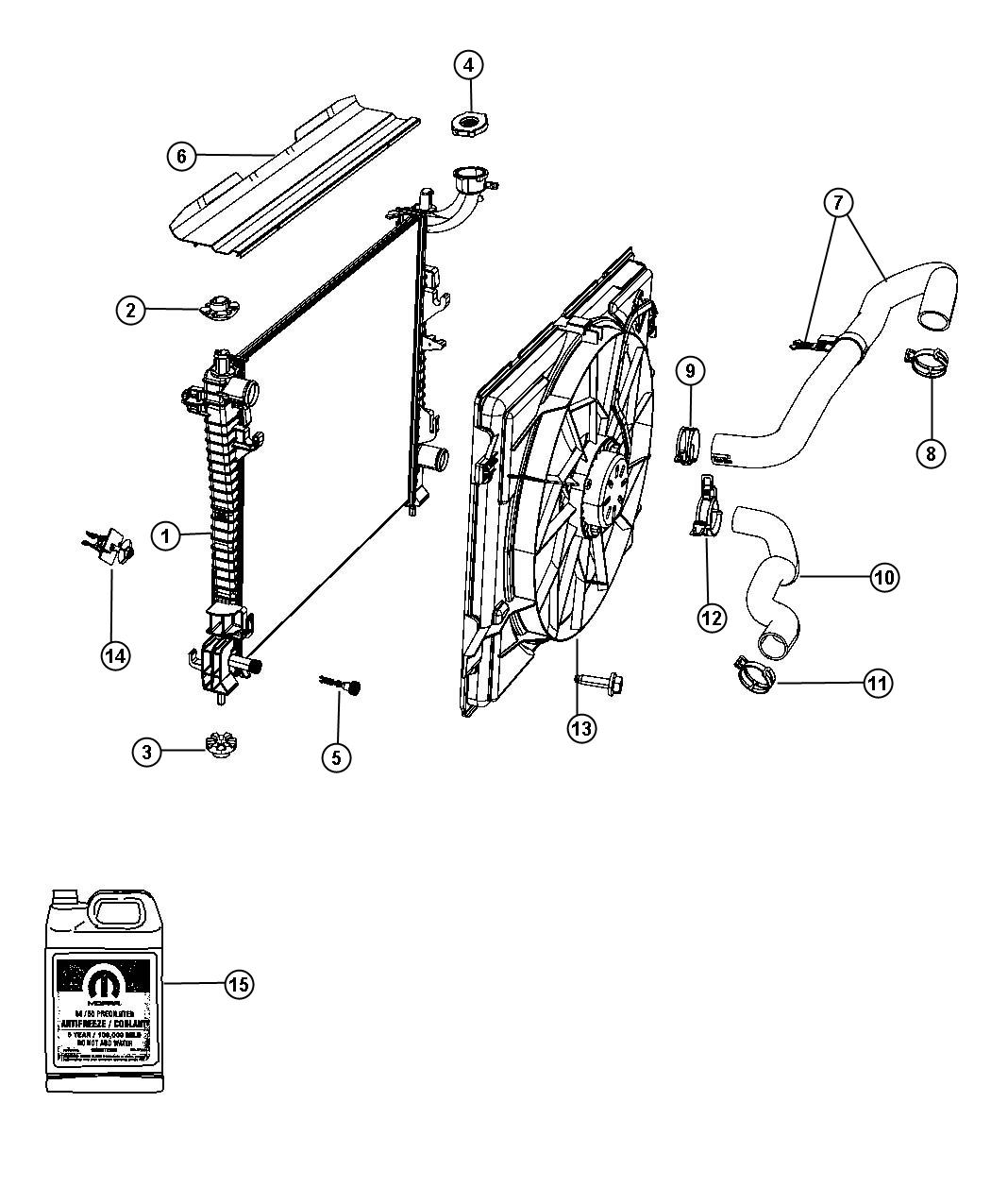 Dodge Magnum Seal Radiator Upper Export Front End Module