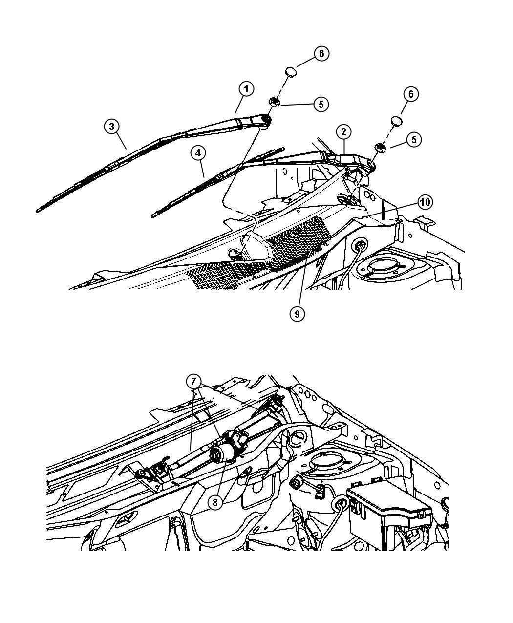 2011 Dodge Caliber Arm. Front wiper, wiper. Left