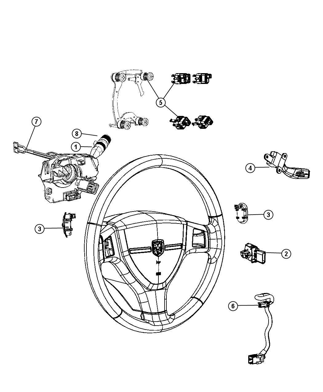 2009 Dodge Caliber Switch. Horn. [scv, nhm, rdz], after 08