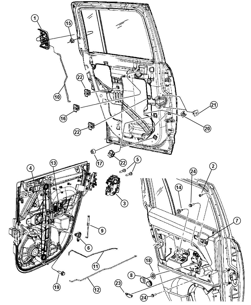 2011 Jeep Compass Latch. Rear door. Power, right. Trim