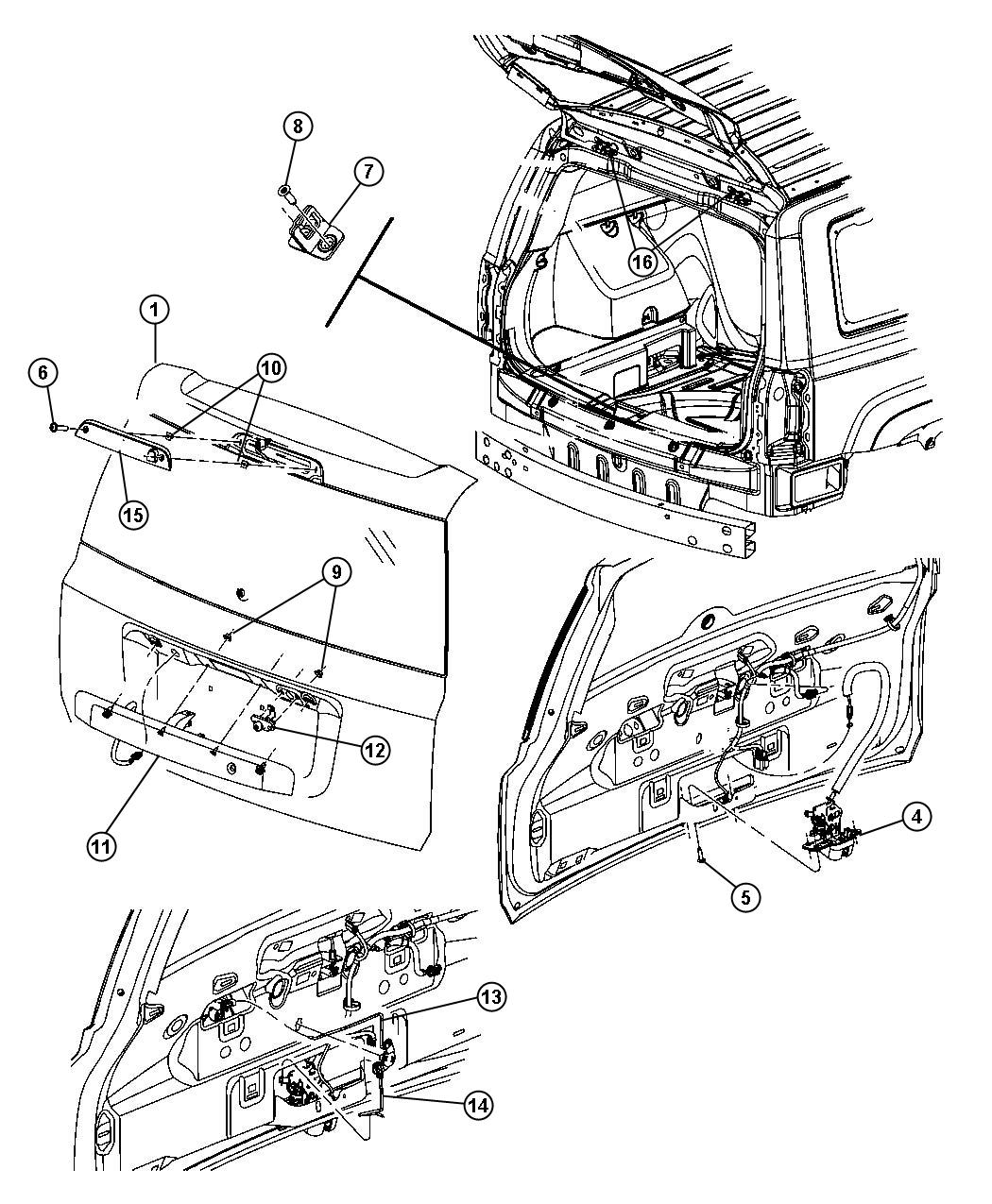Jeep Patriot Latch. Liftgate. [manual door locks], with