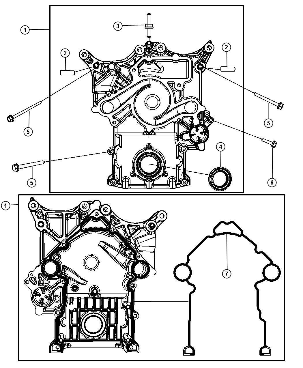 Dodge Durango Cover. Timing case. Mds, engine, hemi