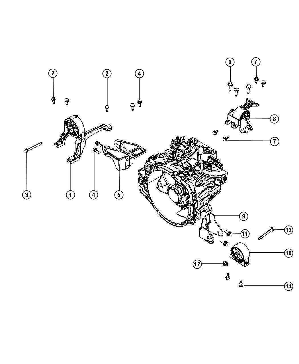 2008 Dodge Caliber Isolator. Engine mount. Rear. Mounting