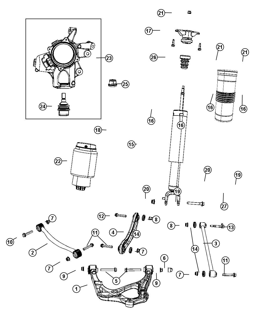 2011 Jeep Grand Cherokee Spring assembly. Air suspension