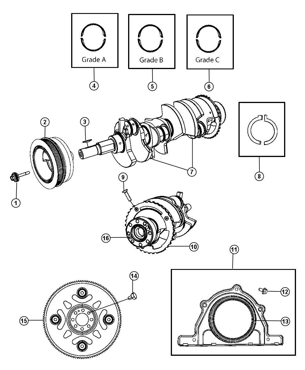 Dodge Charger Damper. Crankshaft. Bearings, flywheel, ezh