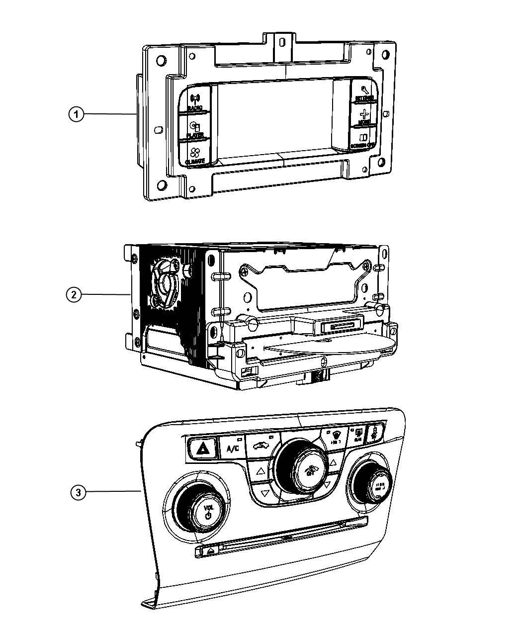 Dodge Charger Center stack. Upper. Instrument, panel