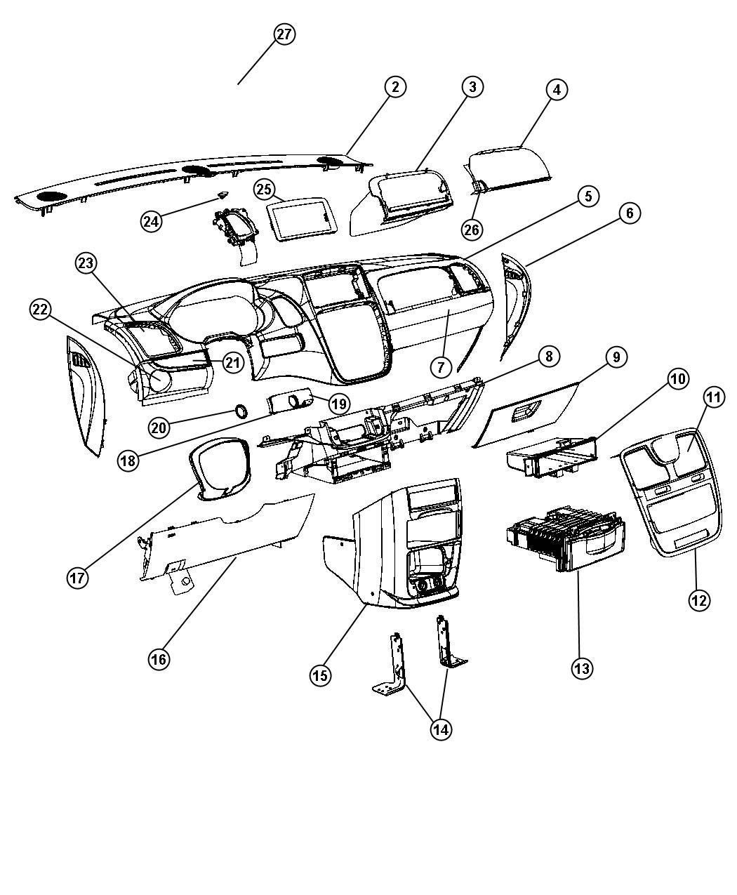 Dodge Grand Caravan Panel Instrument Lower Ll