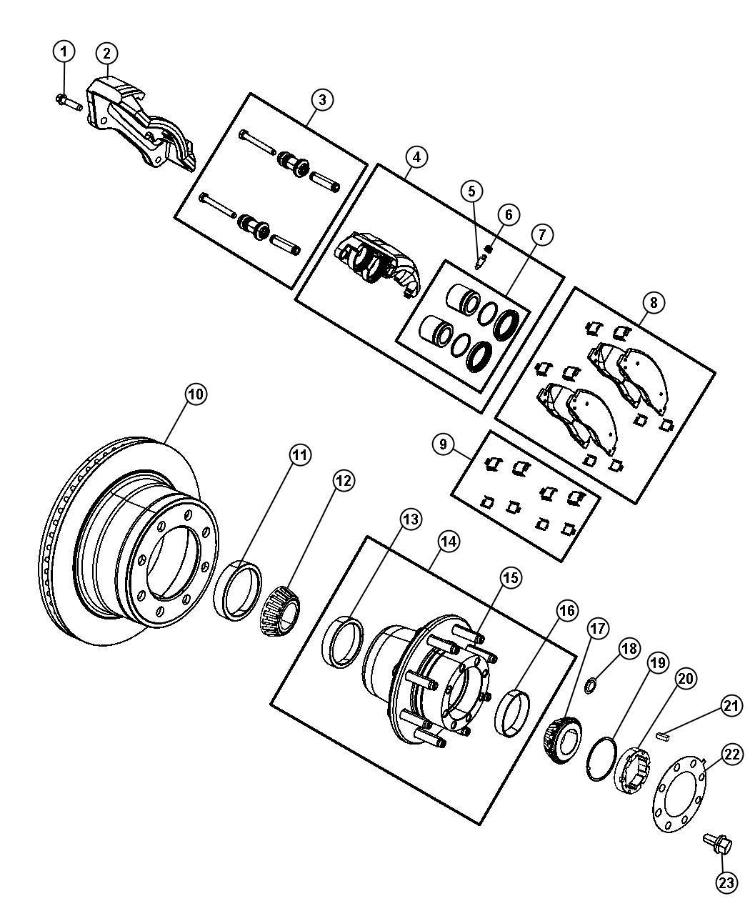 Ram Adapter Disc Brake Caliper Rear Left Right