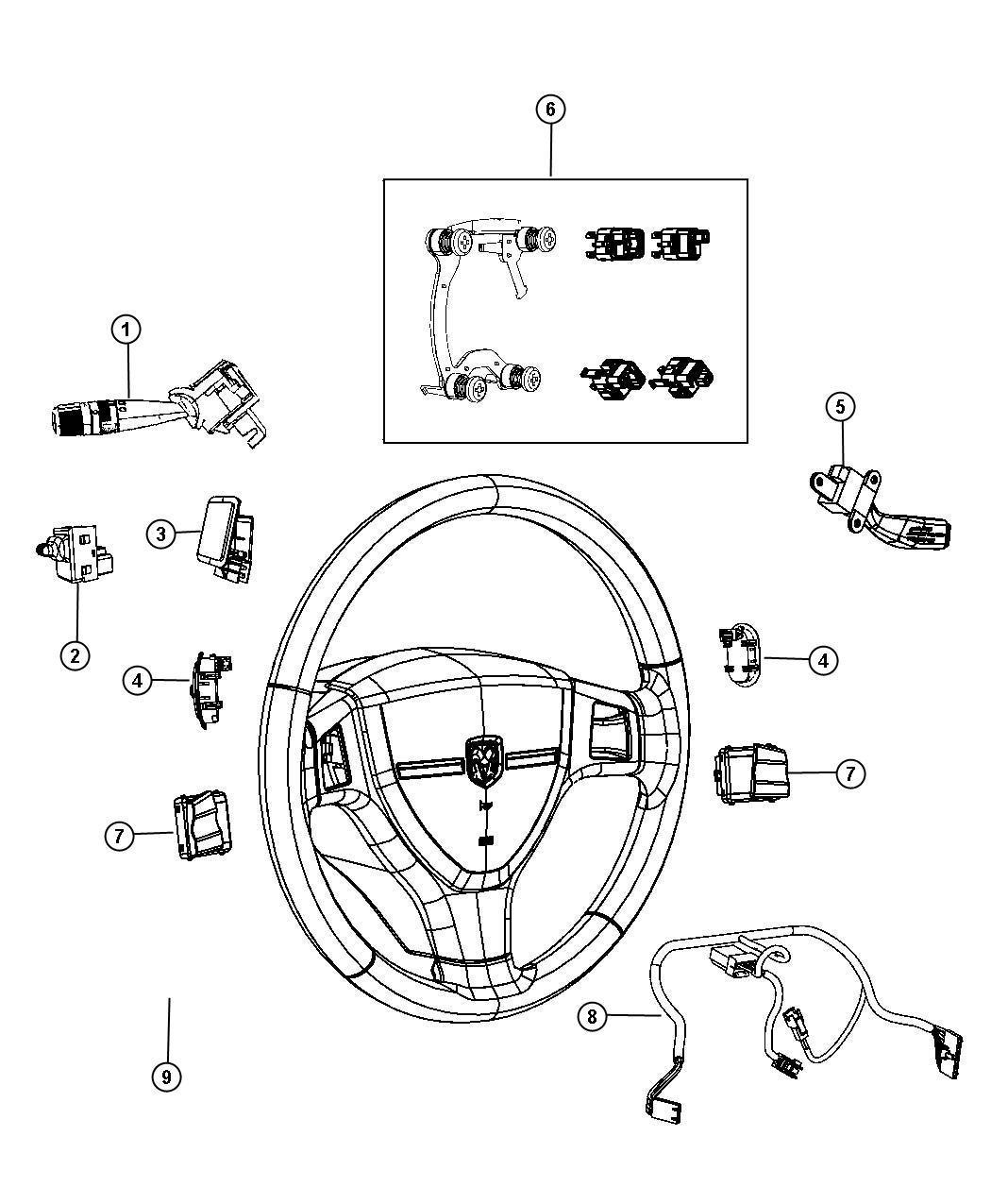 2013 Dodge Ram 1500 Wiring. Steering wheel. Trim: [no