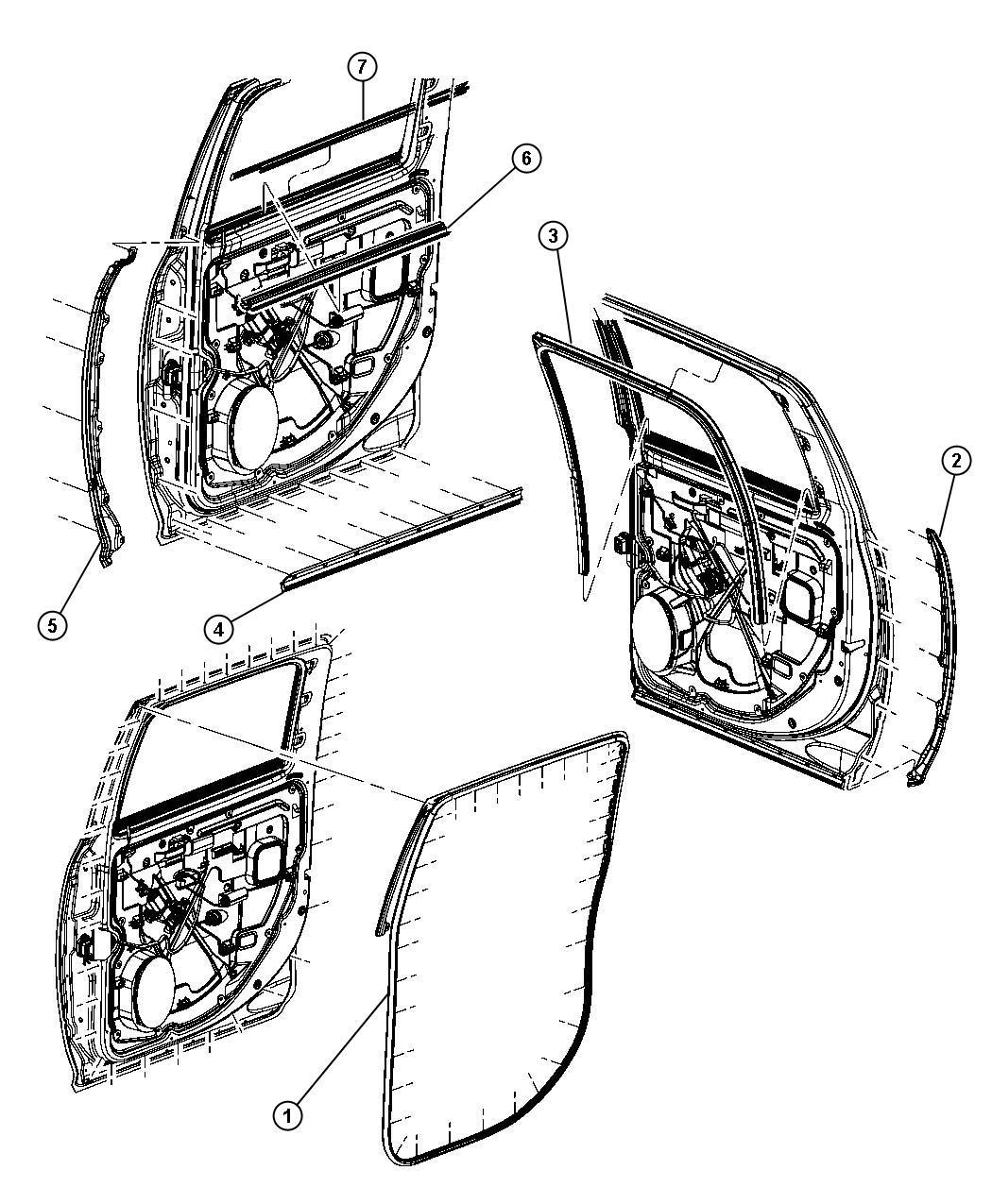 2011 Dodge Ram 5500 Weatherstrip. Rear door belt outer