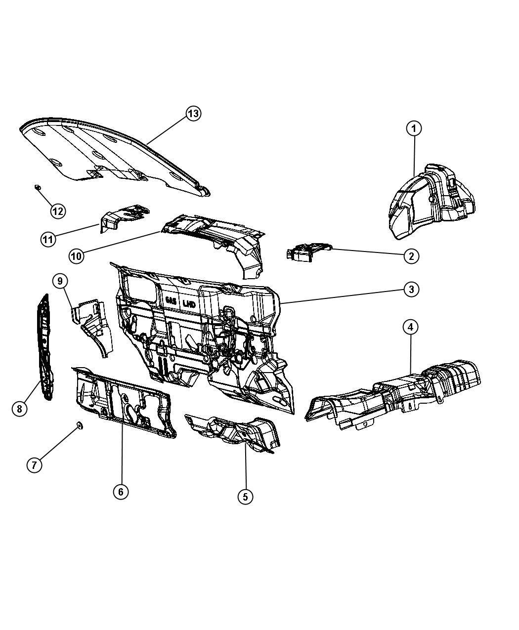 2012 Dodge Journey Silencer. Dash panel. Silencers, floor