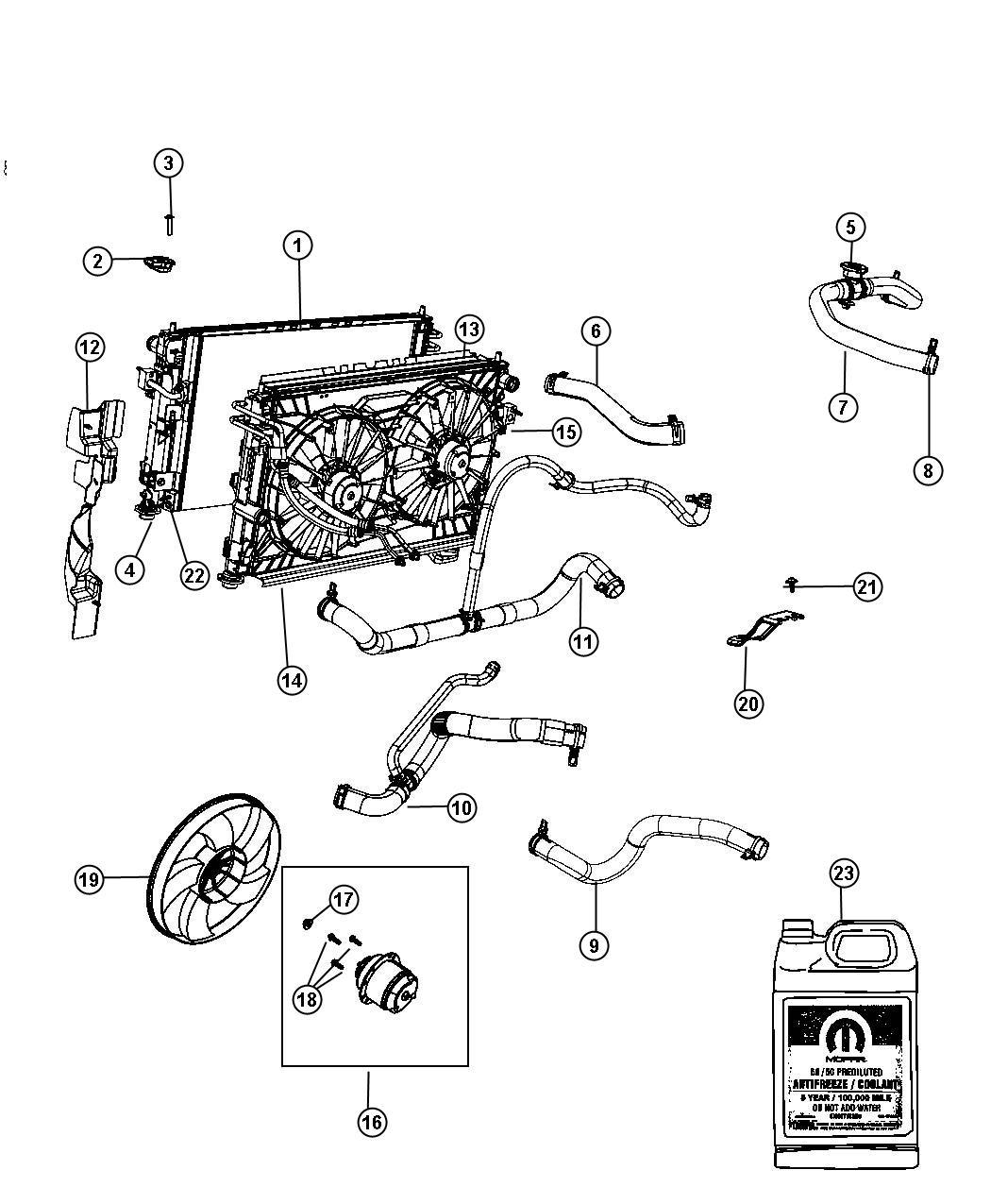 Chrysler 200 Seal Radiator Lower Related