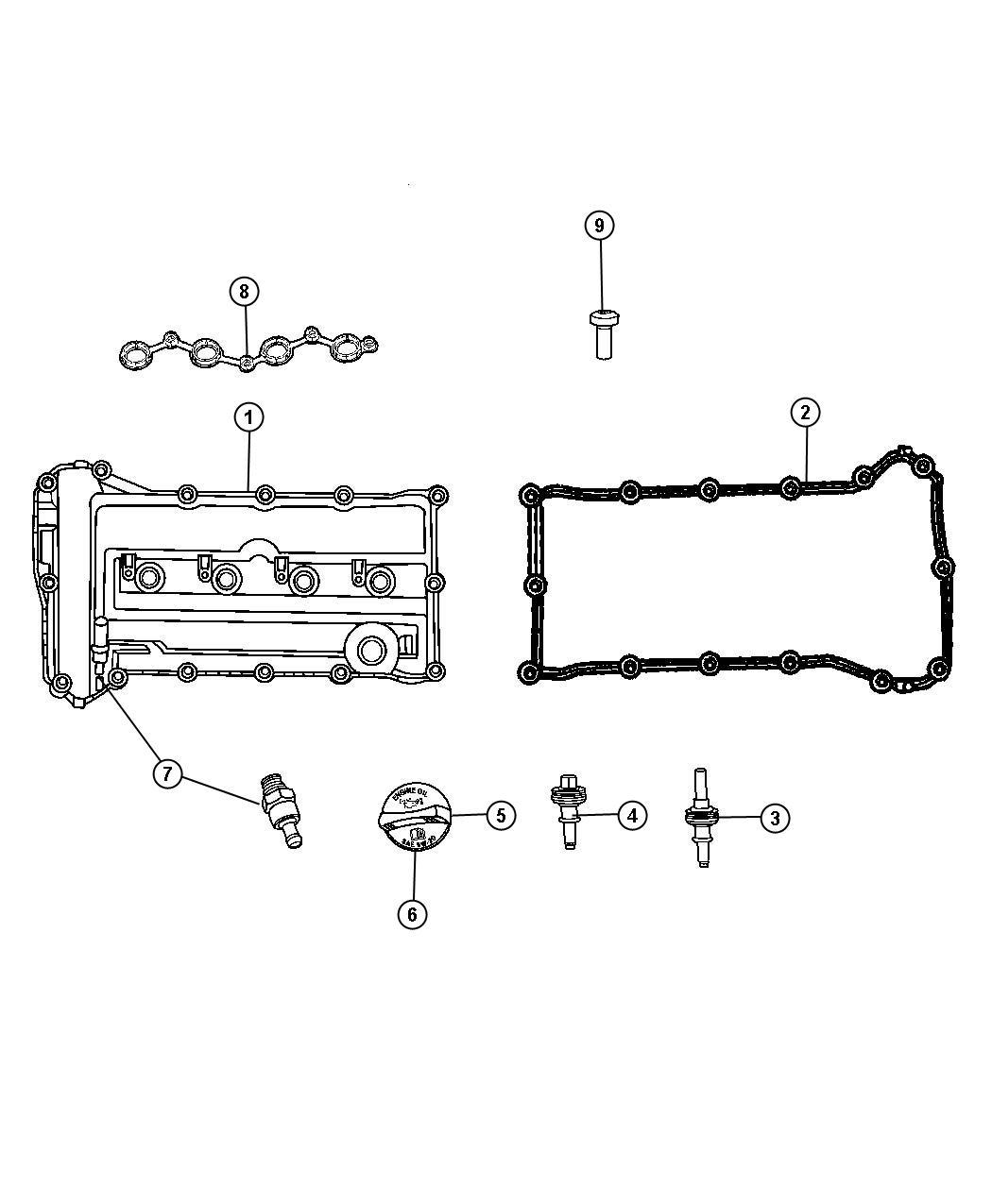 Dodge Avenger Gasket. Cylinder cover, cylinder head cover