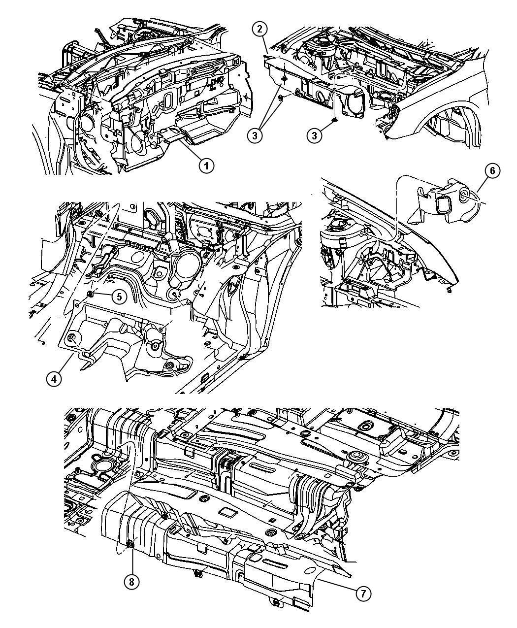 Dodge Avenger Stuffer. Right. Between wheel well brace and