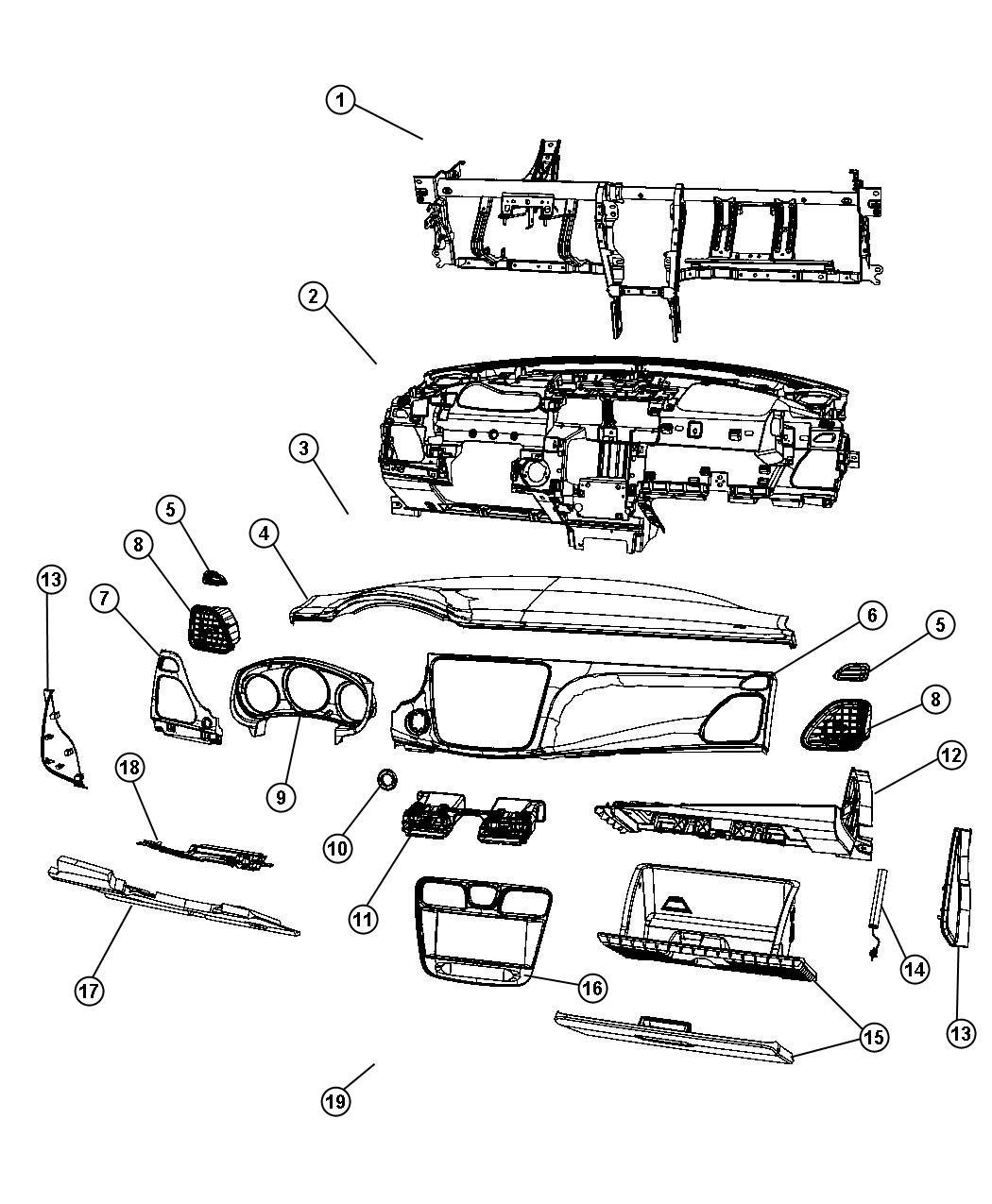 2012 Chrysler 200 Bezel. Instrument panel. Right. Trim