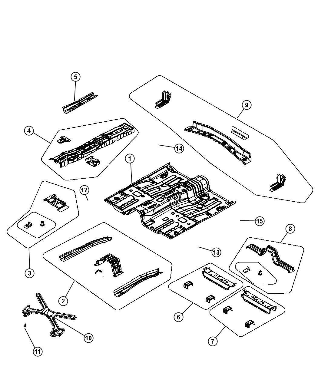 2012 Dodge Avenger Bracket. Console. Pan, front, floor