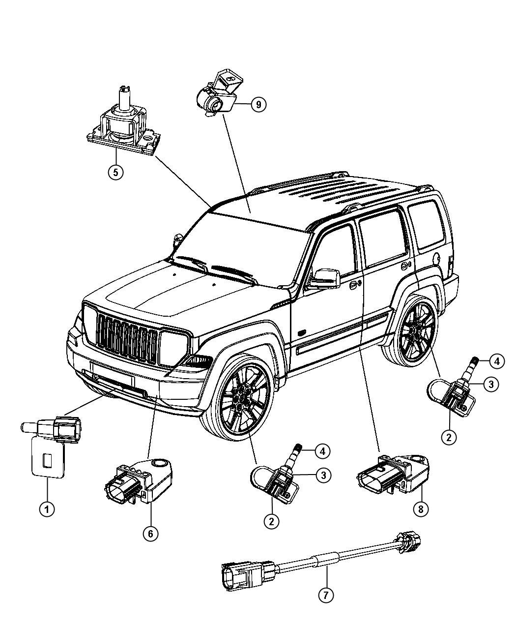 2012 Jeep Liberty Wiring. Jumper. Impact sensor. Front