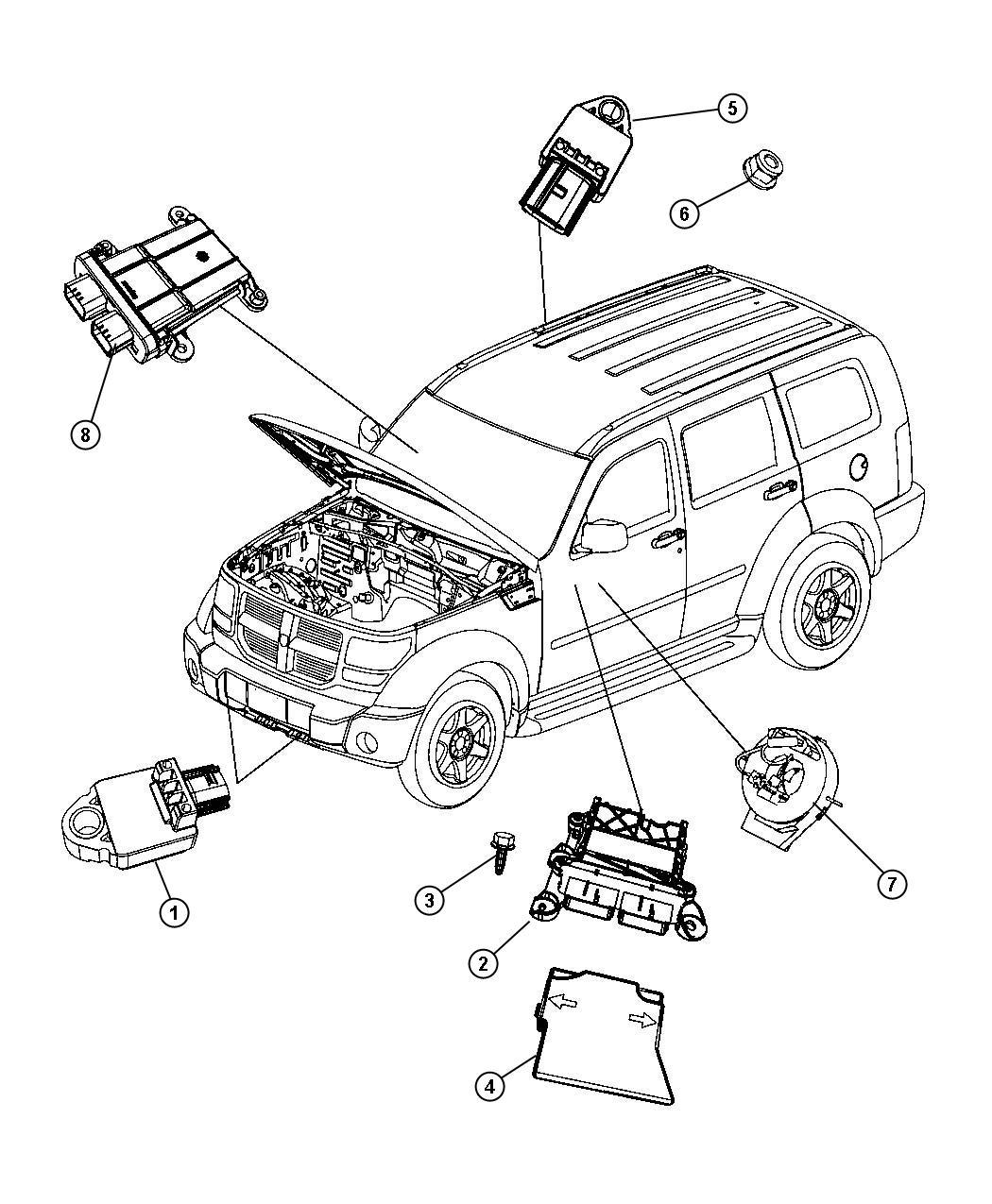 Jeep Liberty Module. Occupant restraint. Air, bags