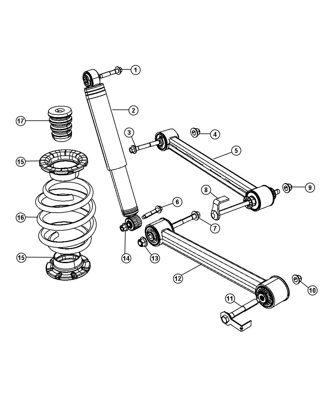 2008 Jeep Liberty Shock absorber. Suspension. Rear. Duty
