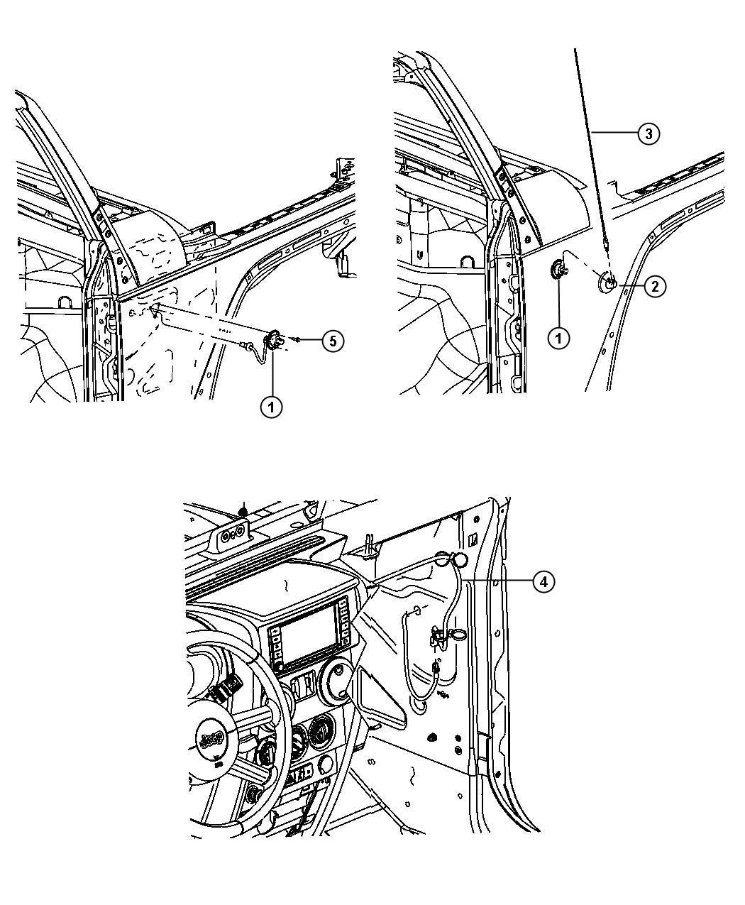 Jeep Wrangler Cover Antenna Base Fixed Long Mast